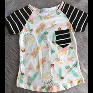 Kids feather top black and white stripe sleeve